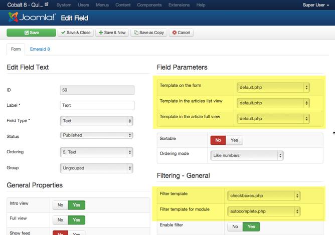 Customize fields templates